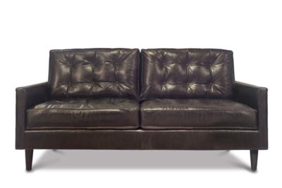 Redding Mid-Century Tufted Loveseat In Black Leather
