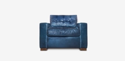 Brando Track Arm Chair In Navy Leather