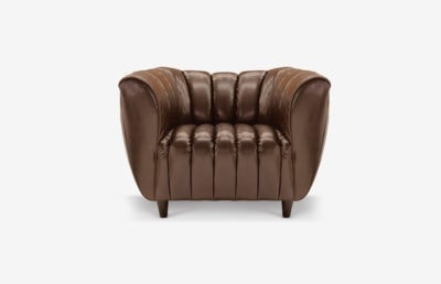 Hughes Art Deco Armchair In Brompton Brown Leather