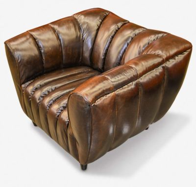 Hughes Art Deco Chair In Cigar Brown Leather