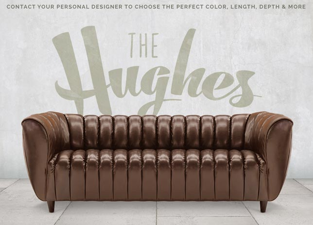 Hughes Art Deco Club Arm Leather Sofa