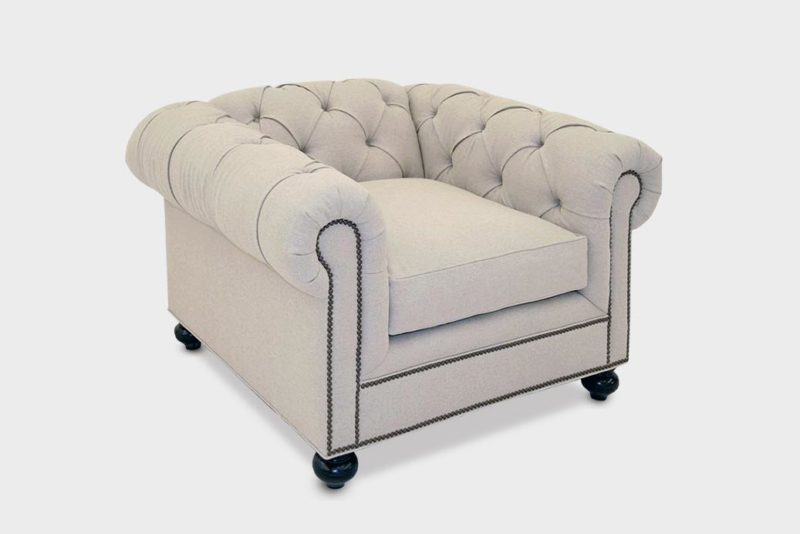 Irving Classic Chesterfield Chair In Beige Fabric