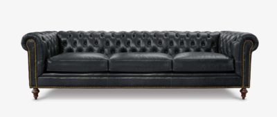 Fitzgerald Black Leather Chesterfield Sofa