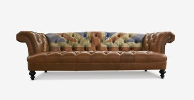 Hawthorne Pub Chesterfield Sofa With Hand Painted Union Jack In Brown Leather