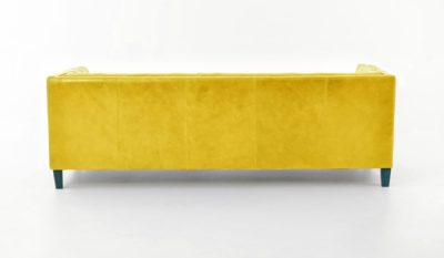 Holiday Mid-Century Tuxedo Sofa In Yellow Leather