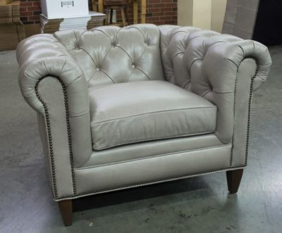 Custom American Made White Leather Fitzgerald Chesterfield Armchair