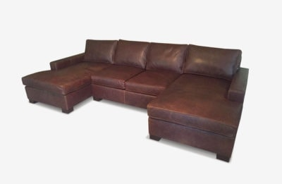 McQueen Classic Brown Leather Contemporary Square Track Arm Sectional
