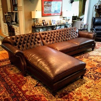 Brown Leather Riley Sectional With Chaise