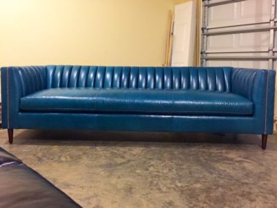 Lamber Mid-Century Sofa In Navy Blue Leather