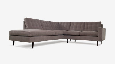 Redding Mid-Century Sectional Sofa In Grey Fabric