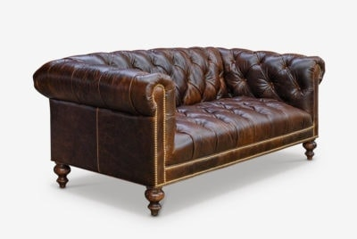 Wright Tufted Seat Cigar Leather Chesterfield