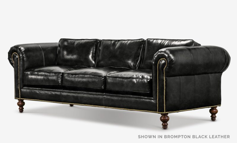 The Sidney: Modern Chesterfield Sofa In Brompton Black Leather
