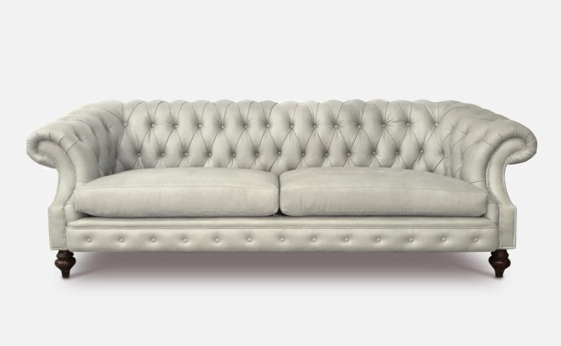 Langston High Back Scoop Arm Chesterfield Hand-stained In White Leather